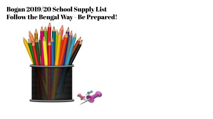 Fall 2019 School Supply List - News and Announcements